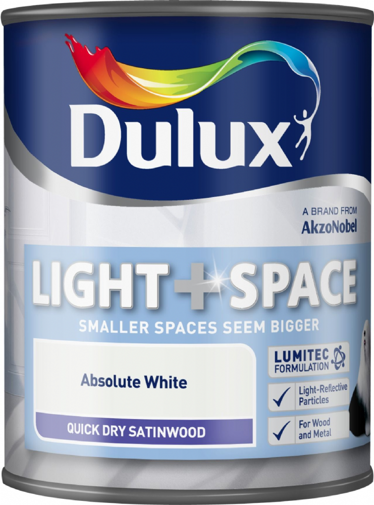 Dulux Light & Space Quick Dry Satinwood Absolute White 750ml